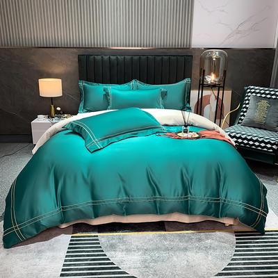 2021新款-双面冰丝刺绣款四件套米兰 1.8m床单款四件套 墨绿