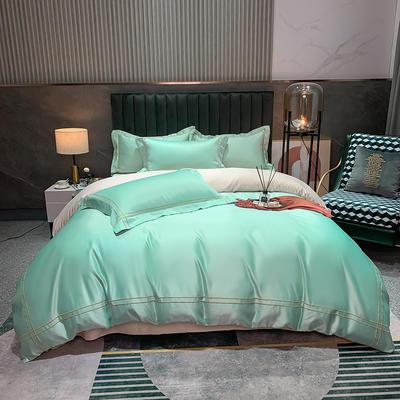 2021新款-双面冰丝刺绣款四件套米兰 1.8m床单款四件套 水绿