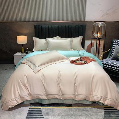 2021新款-双面冰丝刺绣款四件套米兰 1.8m床单款四件套 香槟玉