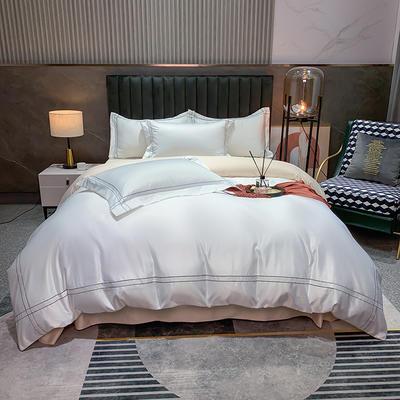 2021新款-双面冰丝刺绣款四件套米兰 1.8m床单款四件套 珍珠白