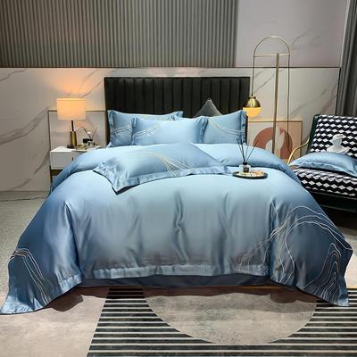 2021新款-双面冰丝刺绣款四件套丽诺 1.8m床单款四件套 宾利蓝