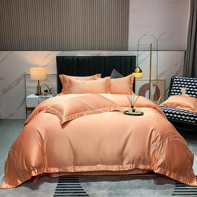 2021新款-双面冰丝刺绣款四件套丽诺 1.8m床单款四件套 橙玉