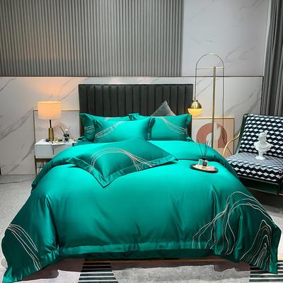 2021新款-双面冰丝刺绣款四件套丽诺 1.8m床单款四件套 墨绿