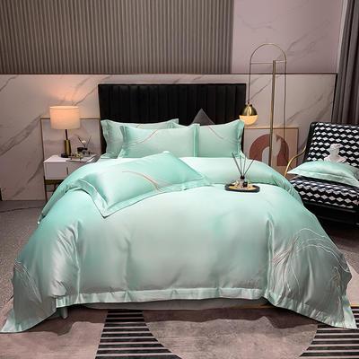 2021新款-双面冰丝刺绣款四件套丽诺 1.8m床单款四件套 水蓝