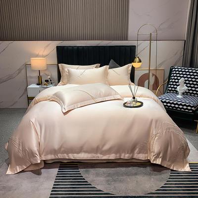 2021新款-双面冰丝刺绣款四件套丽诺 1.8m床单款四件套 珍珠玉