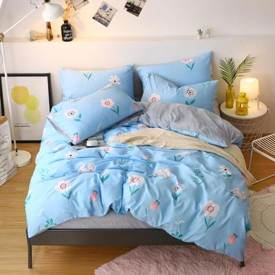 2019新款棉加绒四件套雪花绒法莱绒保暖套件 0.9/1.0m/1.2m床单款三件套 格林童话-蓝