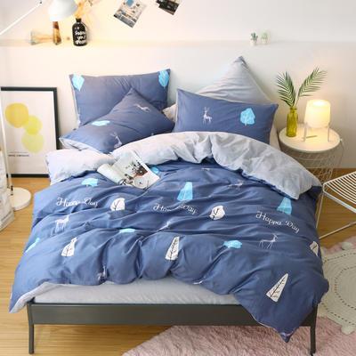 2019新款棉加绒四件套雪花绒法莱绒保暖套件 1.5m床单款四件套 森之林-蓝