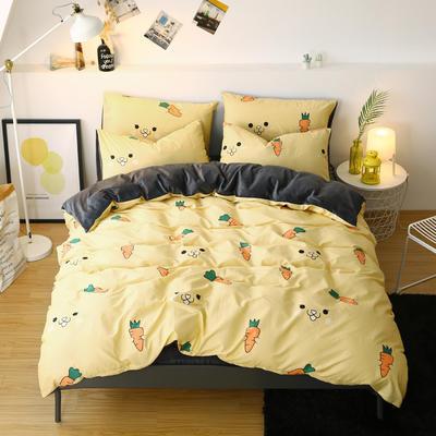 2019新款棉加绒四件套雪花绒法莱绒保暖套件 0.9/1.0m/1.2m床单款三件套 小可爱-黄