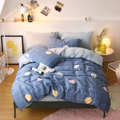 2019新款棉加绒四件套雪花绒法莱绒保暖套件 0.9/1.0m/1.2m床单款三件套 字母空间-深蓝