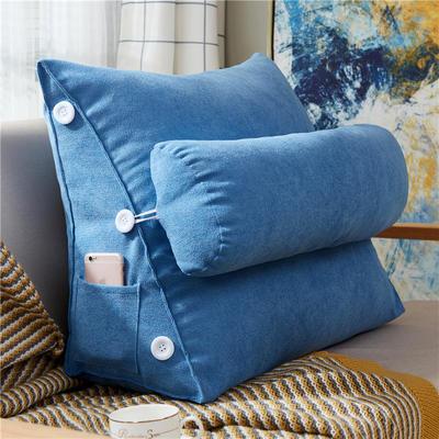 2020新款-韩国绒带头枕 60*22*50cm带头枕 宝石蓝