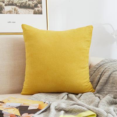 2020新款-棉麻纯色加厚抱枕 45*45cm单套 麻棉-黄色