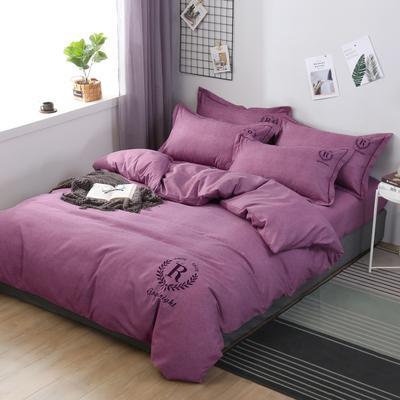 2019新款铂金棉绣花四件套 1.8m(6英尺)床 铂金棉绣花-花样紫