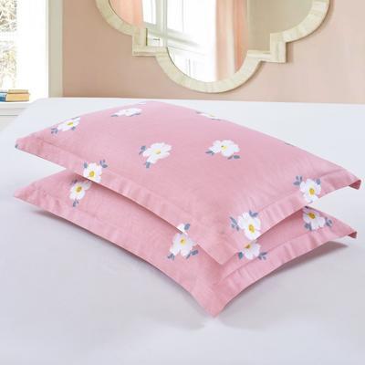 2019新款全棉12868枕套 43cmX73cm/对 雏菊花开-豆沙