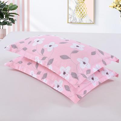 2019新款全棉12868枕套 43cmX73cm/对 花颜悦色-粉