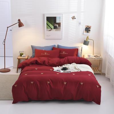 2019新款绣花轻奢系列四件套 1.5m(5英尺)床 小蜜蜂-红