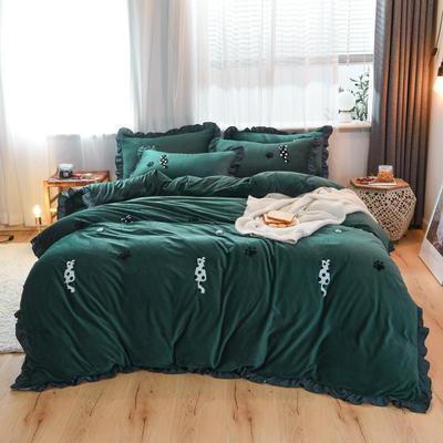 2019新款水晶绒毛巾绣四件套 1.8m床单款 墨绿色