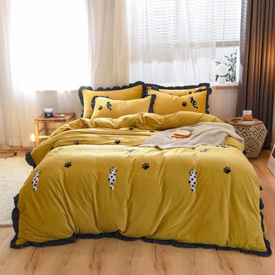 2019新款水晶绒毛巾绣四件套 1.8m床单款 柠檬黄
