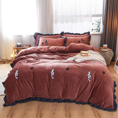 2019新款水晶绒毛巾绣四件套 1.8m床单款 锈红色