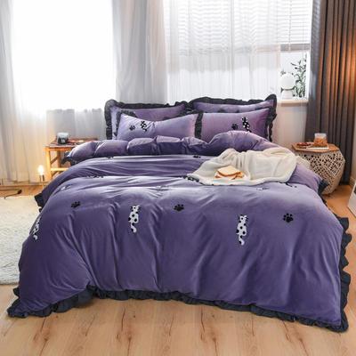 2019新款水晶绒毛巾绣四件套 1.8m床单款 紫色