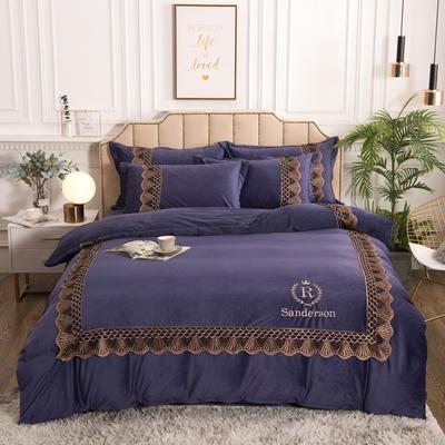 2019新款贵族风蕾丝花边水晶绒立体绣花四件套法莱绒宝宝绒 1.8m床单款 紫色