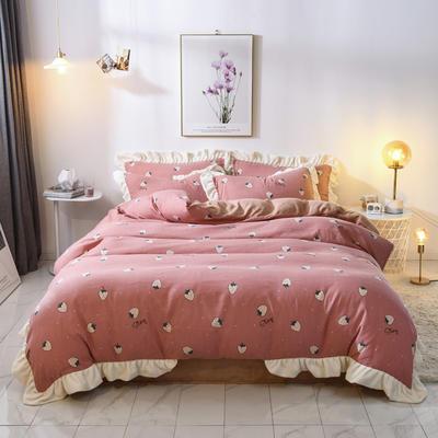 2019新款木耳边棉加牛奶绒四件套法莱绒水晶绒四件套 1.8m床单款 草莓