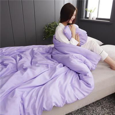 2019新款全棉磨毛纯色蚕丝被 150*200 3斤 紫色