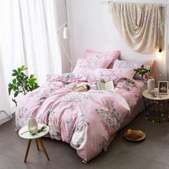【7】12868全棉标准【定位版】四件套 1.5m(5英尺)床 沉香花影-粉