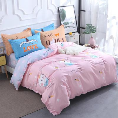 【7】12868全棉标准【定位版】四件套 1.8m(6英尺)床 安逸小兔
