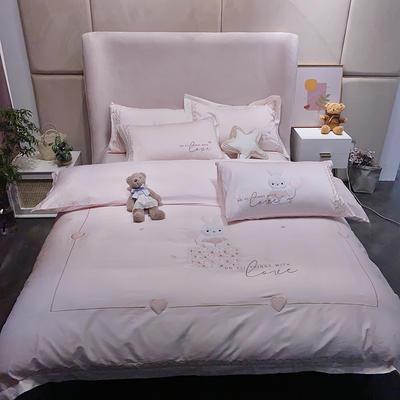 【79】100支长绒棉系列 1.5m(5英尺)床 790017奶柔兔-粉