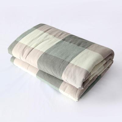 2019新款色织水洗棉夏被,春秋被 150x200cm夏被 绿大格
