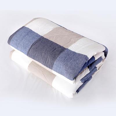 2019新款色织水洗棉夏被,春秋被 150x200cm夏被 蓝大格
