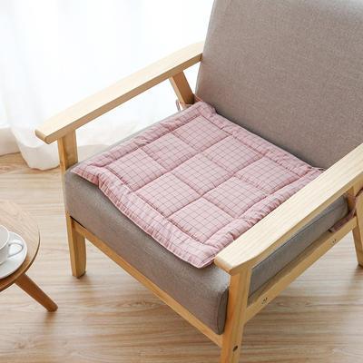 2019新款水洗棉坐垫 45x45cm 粉格