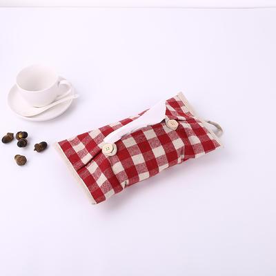 2019新款老粗布纸巾盒 29.5cm*18 红格