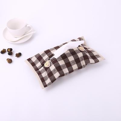 2019新款老粗布纸巾盒 29.5cm*18 咖格