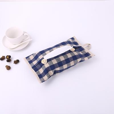2019新款老粗布纸巾盒 29.5cm*18 蓝格