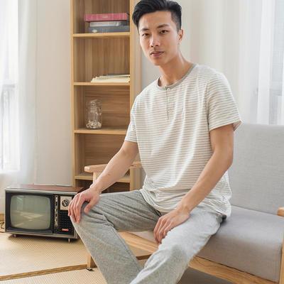 2019新款棉氨 短袖家居服 2XL码 男-白窄条