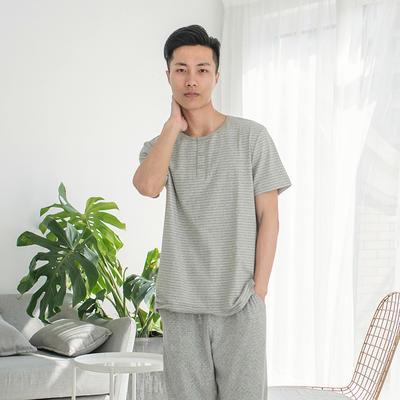2019新款棉氨 短袖家居服 L码 男-灰窄条