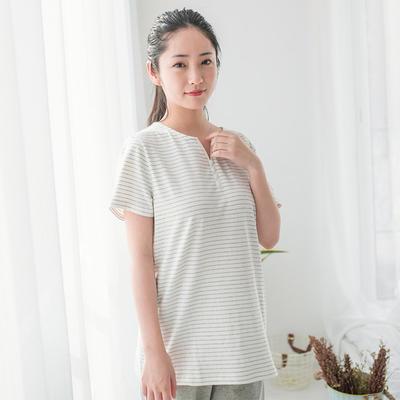 2019新款棉氨 短袖家居服 M码 女-白窄条