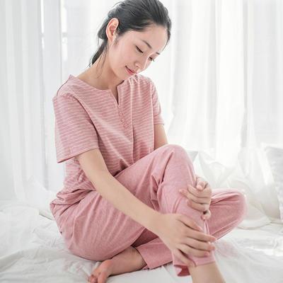 2019新款棉氨 短袖家居服 M码 女-砖红窄条