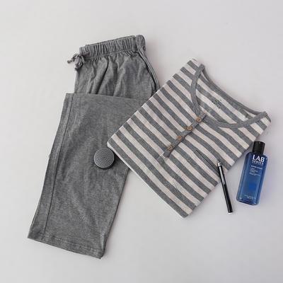2019新款长袖家居服  针织棉 XL码 灰色 男款