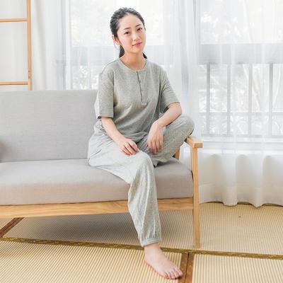 2019新款色纺纱针织棉氨家居服 M码 灰白点 女款
