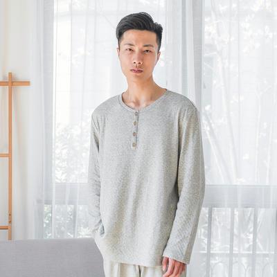 2019新款色纺纱针织棉氨家居服 M码 灰白点 男款