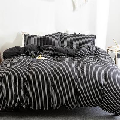2019新款天竺棉系列四件套 1.2m床笠款三件套 黑色