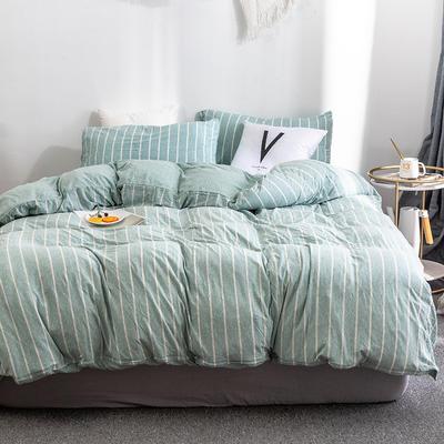 2019新款天竺棉系列四件套 1.2m床笠款三件套 绿宽条