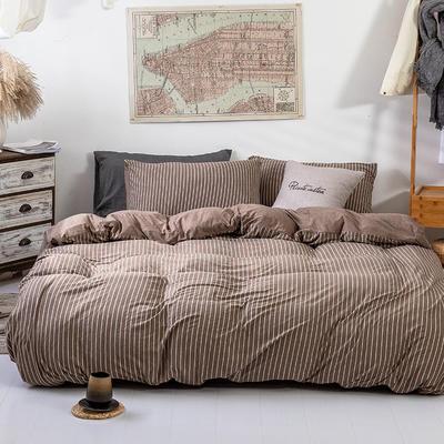 2019新款天竺棉系列四件套 1.2m床笠款三件套 棕窄