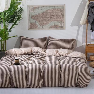 2019新款天竺棉系列四件套 1.2m床笠款三件套 棕中条