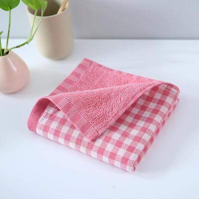 2019新款毛巾 粉格34*76cm