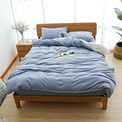 2019新款天竺棉系列四件套 1.2m床单款三件套 蓝灰窄条