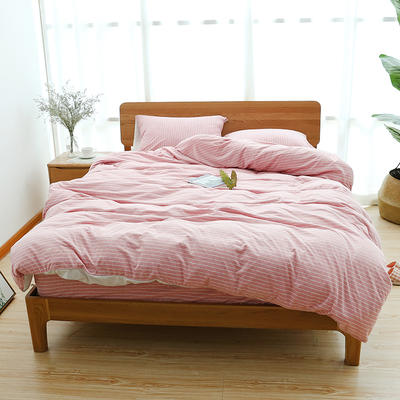 2019新款天竺棉系列四件套 1.2m床单款三件套 砖红窄条