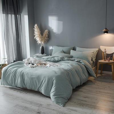 2019新款天竺棉系列四件套 1.2m床单款三件套 绿细窄条
